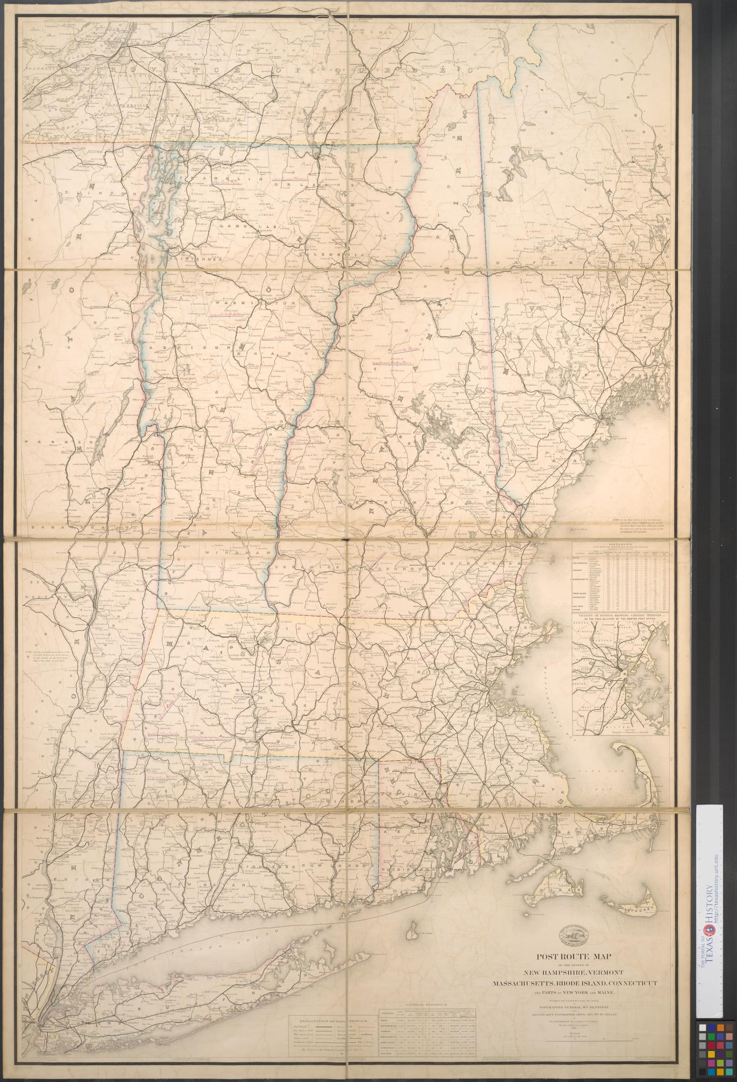 Post route map of the states of New Hampshire, Vermont, Massachusetts, Rhode Island, Connecticut and parts of New York and Maine.                                                                                                      [Sequence #]: 1 of 2