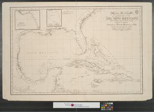 Primary view of object titled 'Carta esferica que comprehende todas las costas del seno Mexicano : Golfo de Honduras, Islas de Cuba, Sto. Domingo, Jamaica y Lucayas.'.