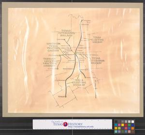 Primary view of object titled '[Map of electric railway lines in North Central Texas]'.