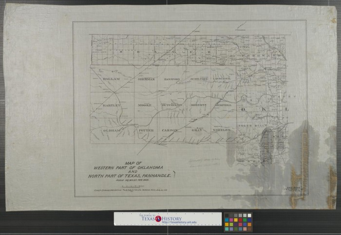 Map Of North Texas And Oklahoma.Map Of Western Part Of Oklahoma And North Part Of Texas Panhandle