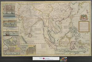 Primary view of object titled 'A map of the East-Indies and the adjacent countries, with the settlements, factories and territories, explaning [sic] what belongs to England, Spain, France, Holland, Denmark, Portugal & c with many remarks not extant in any other map.'.