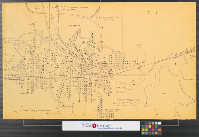 Complete Map Of Texas.Thurber Texas 1920 The Portal To Texas History