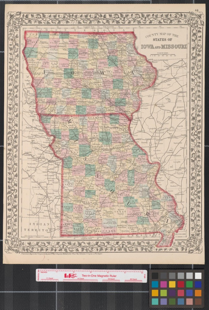 County Map Of The States Of Iowa And Missouri The Portal To - Map of iowa