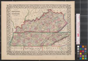 Primary view of object titled 'County map of Kentucky and Tennessee.'.