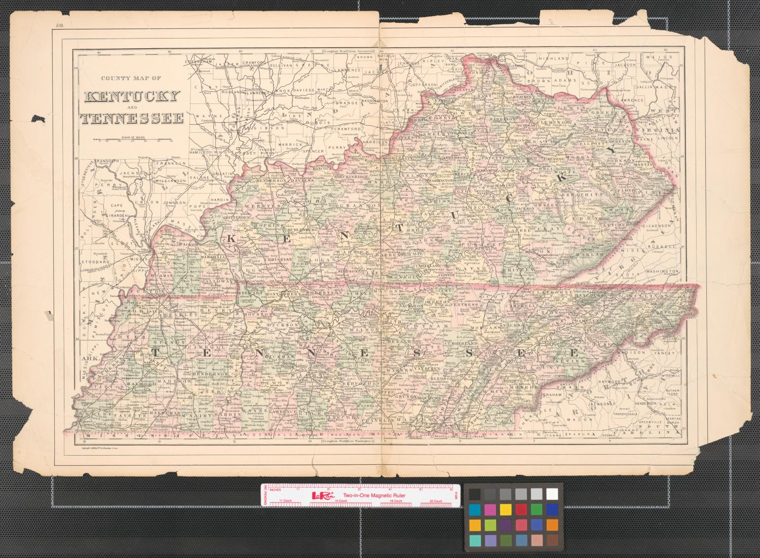 County map of Kentucky and Tennessee.                                                                                                      [Sequence #]: 1 of 2