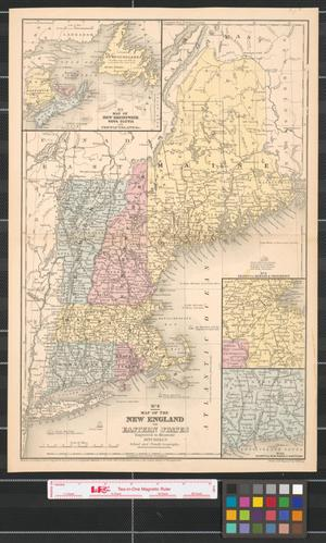 Primary view of object titled 'Map of the New England or Eastern States : engraved to illustrate Mitchell's School and Family Geography.'.
