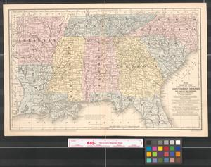 Primary view of object titled 'Map of the chief part of the southern states and part of the western : engraved to illustrate Mitchell's school and family geography.'.