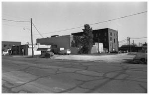 Primary view of object titled '[A Back View of Businesses on the West Side of 100 Block and S. Oak]'.