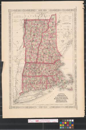 Primary view of object titled 'Johnson's Vermont, New Hampshire, Massachusetts, Rhode Island, and Connecticut.'.