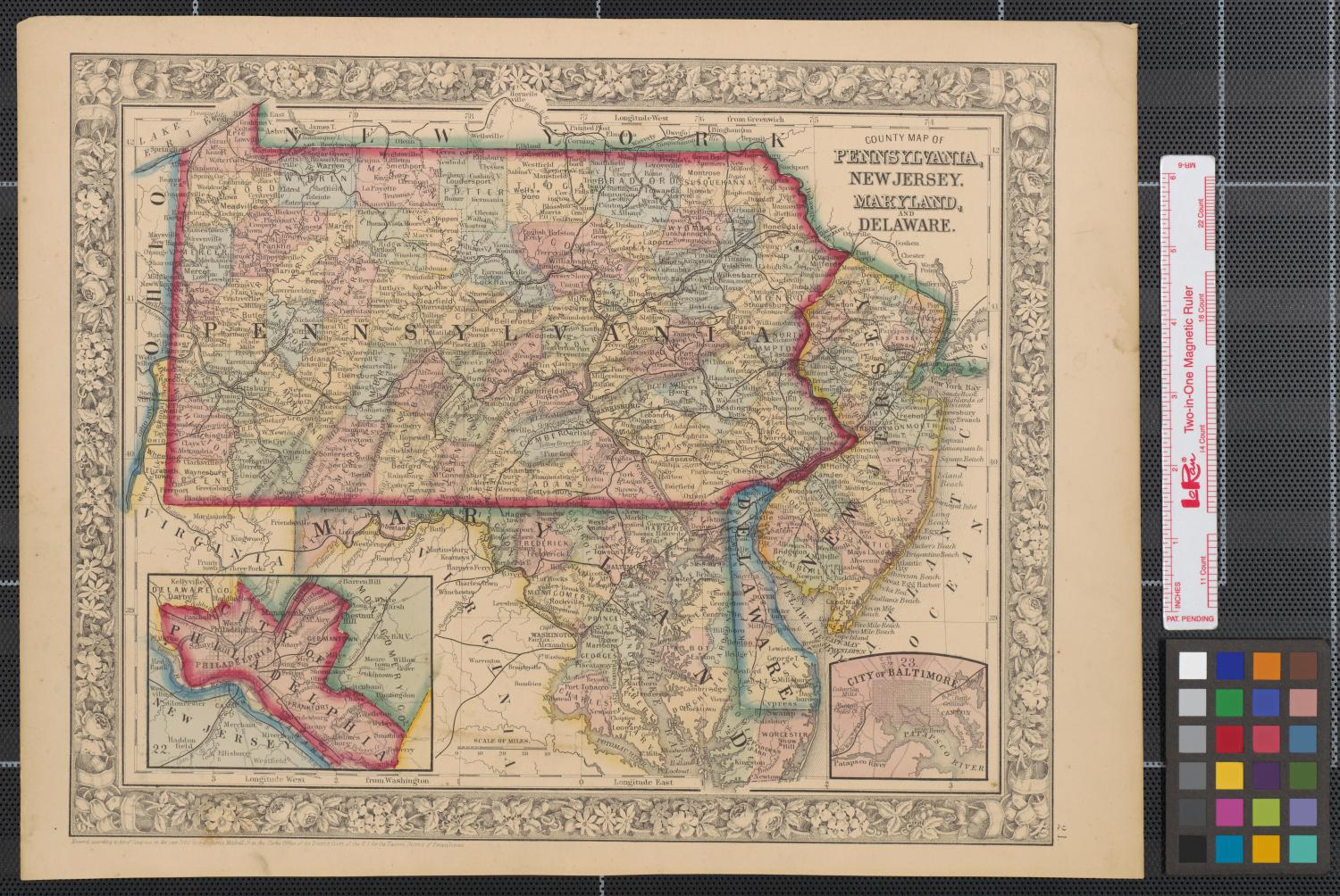 County map of Pennsylvania New Jersey Maryland