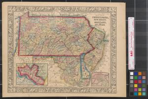 Primary view of object titled 'County map of Pennsylvania, New Jersey, Maryland, and Delaware.'.