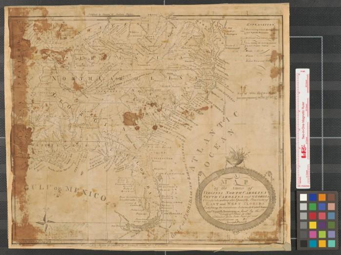 A map of the states of Virginia, North Carolina, South Carolina and ...