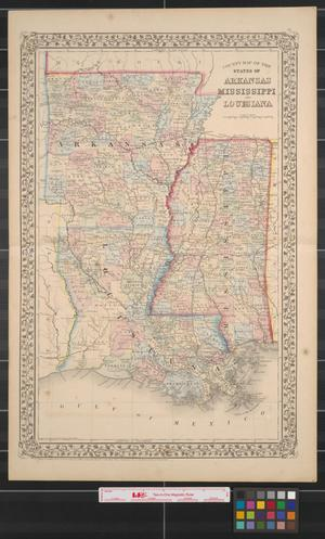 Primary view of object titled 'County map of the states of Arkansas, Mississippi and Louisiana.'.