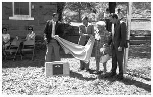 "Primary view of object titled '[Dedication of the ""Little Rock Schoolhouse"" Museum:  A Marker is Unveiled]'."