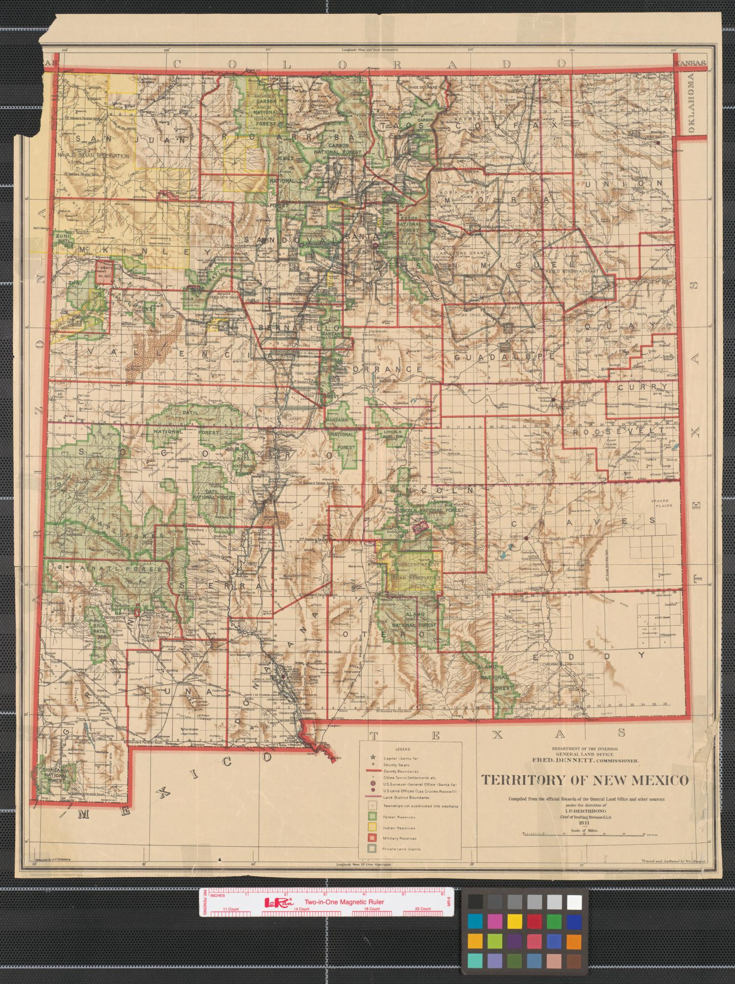 Native American Physical Features >> Territory of New Mexico : compiled from the official records of the General Land Office and ...
