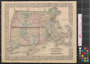 Primary view of object titled 'County map of Massachusetts, Connecticut and Rhode Island.'.