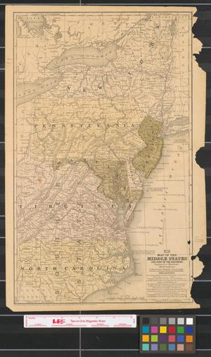 Primary view of object titled 'Map of the Middle States and part of the Southern : engraved to illustrate Mitchell's school and family geography.'.