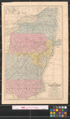 Primary view of Map of the Middle States and part of the Southern : engraved to illustrate Mitchell's school and family geography.