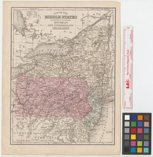 Primary view of object titled 'Map of the Middle States: engraved to illustrate Mitchell's new intermediate geography.'.