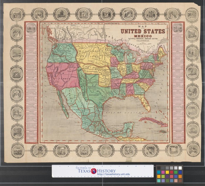 Map of the United States and Mexico, including Oregon, Texas ...