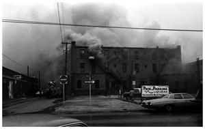 Primary view of object titled '[The Damron Hotel Fire, 21 of 21:  An  Early Stage, Looking East, Smoke Billowing]'.