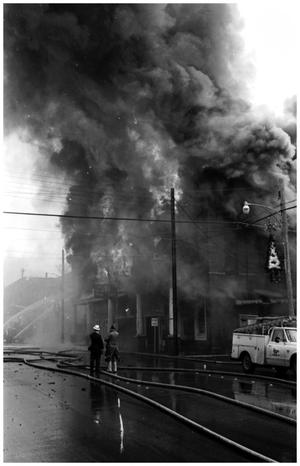 [The Damron Hotel Fire, 19 of 21, Two People Looking South from North]