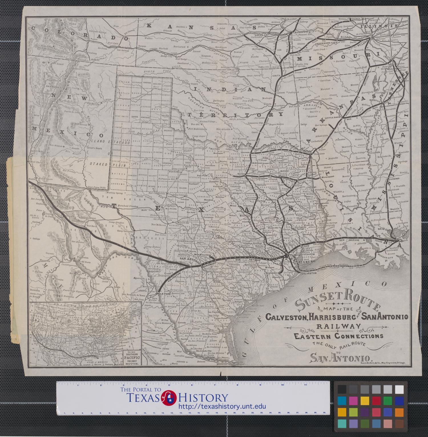 Map of the Galveston Harrisburg and San Antonio Railway and its