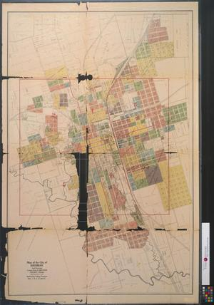 Primary view of object titled 'Map of the city of Sherman and environs : county seat of Grayson County, Texas : embracing voting precincts no.'s 1,2,3,4,5, & 53.'.