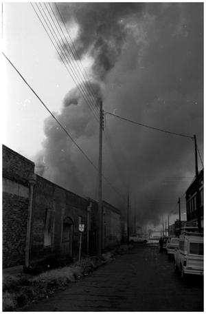 Primary view of object titled '[The Damron Hotel Fire, 14 of 21:  Drifting Smoke From the Fire]'.