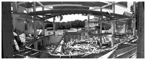 Primary view of object titled '[The Demolition of the First Baptist Church, 8 of 11:   Frame of Building]'.