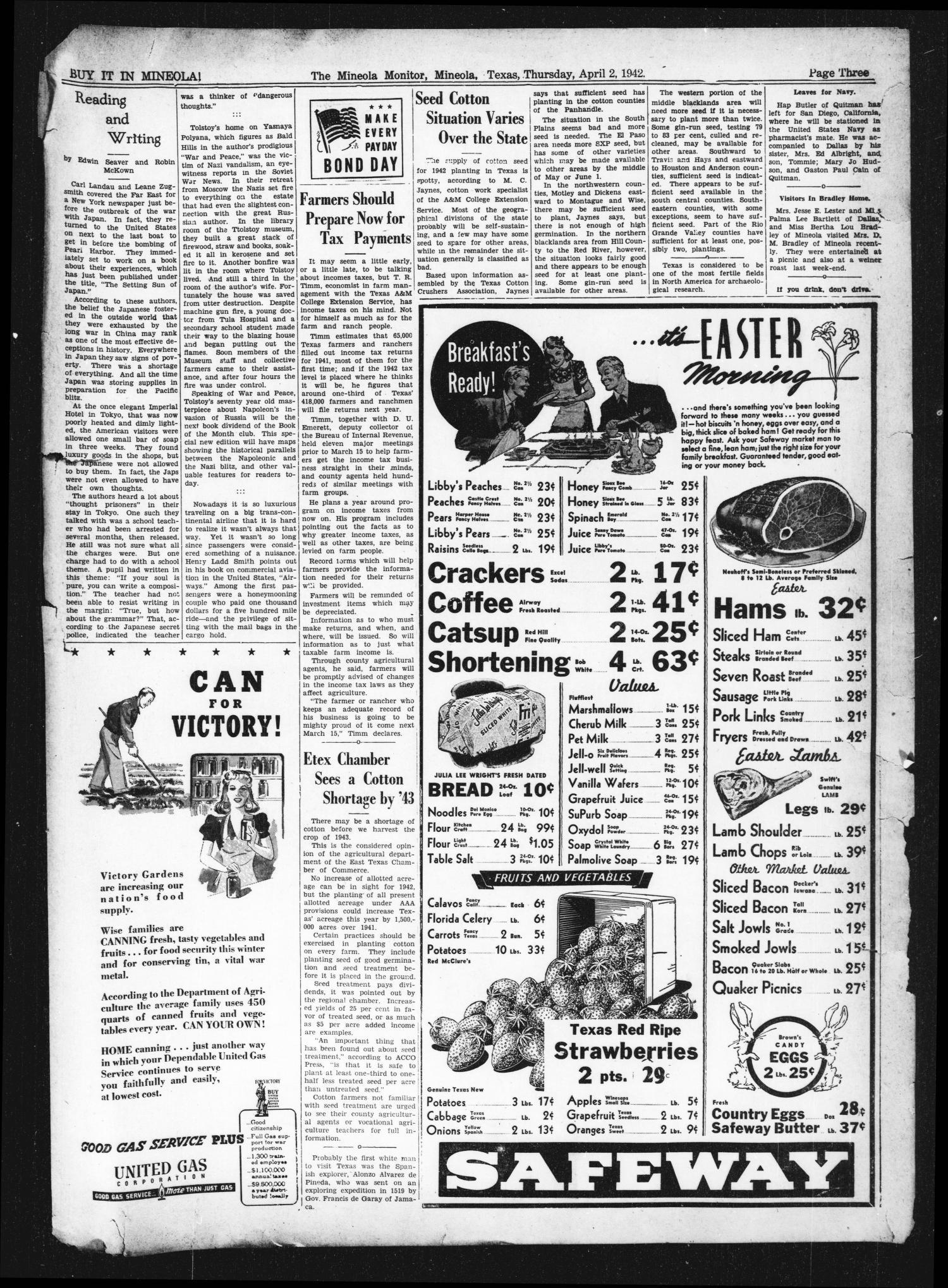 The Mineola Monitor (Mineola, Tex.), Vol. 67, No. 1, Ed. 1 Thursday, April 2, 1942                                                                                                      [Sequence #]: 3 of 8