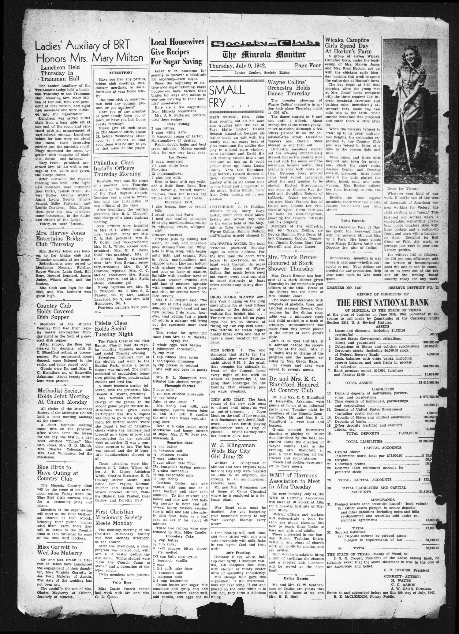 The Mineola Monitor (Mineola, Tex.), Vol. 67, No. 15, Ed. 1 Thursday, July 9, 1942                                                                                                      [Sequence #]: 4 of 8
