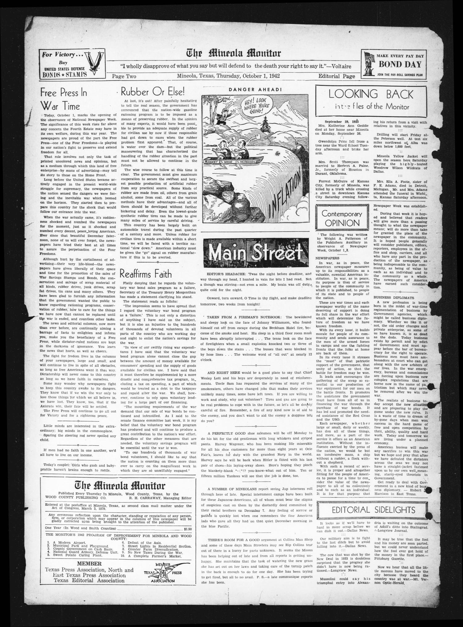 The Mineola Monitor (Mineola, Tex.), Vol. 67, No. 27, Ed. 1 Thursday, October 1, 1942                                                                                                      [Sequence #]: 2 of 8