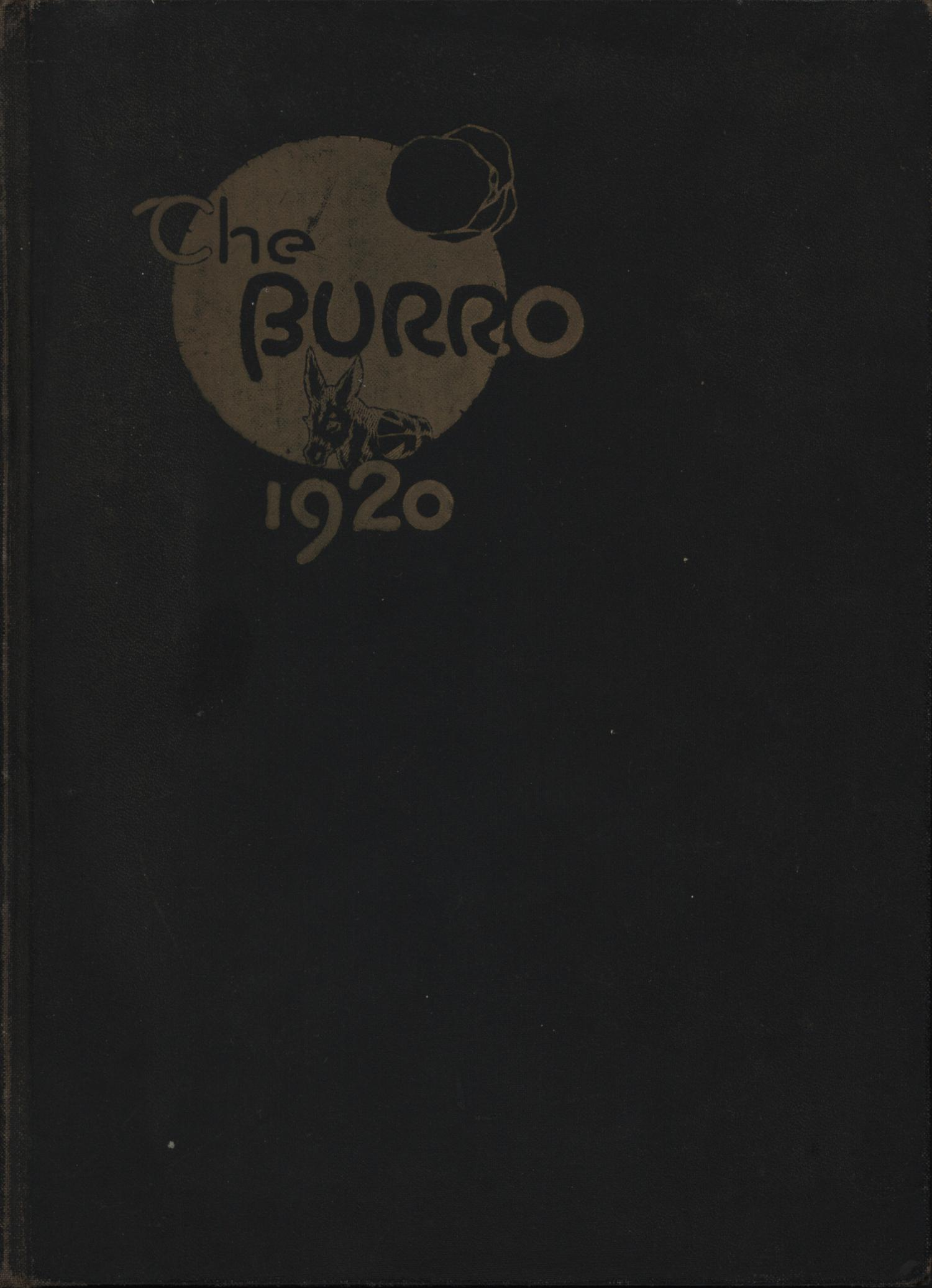 The Burro, Yearbook of Mineral Wells High School, 1920                                                                                                      Front Cover