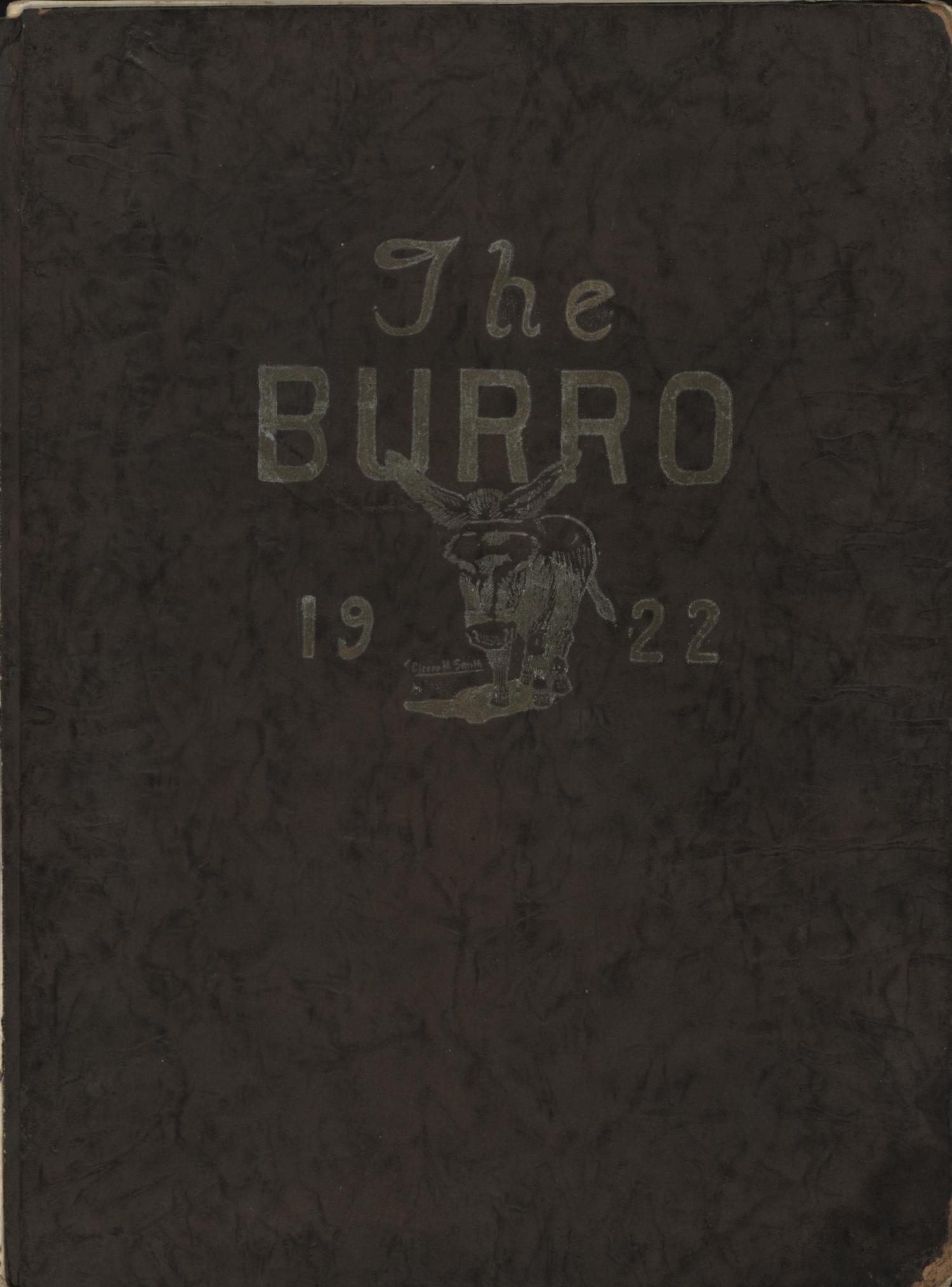 The Burro, Yearbook of Mineral Wells High School, 1922                                                                                                      Front Cover