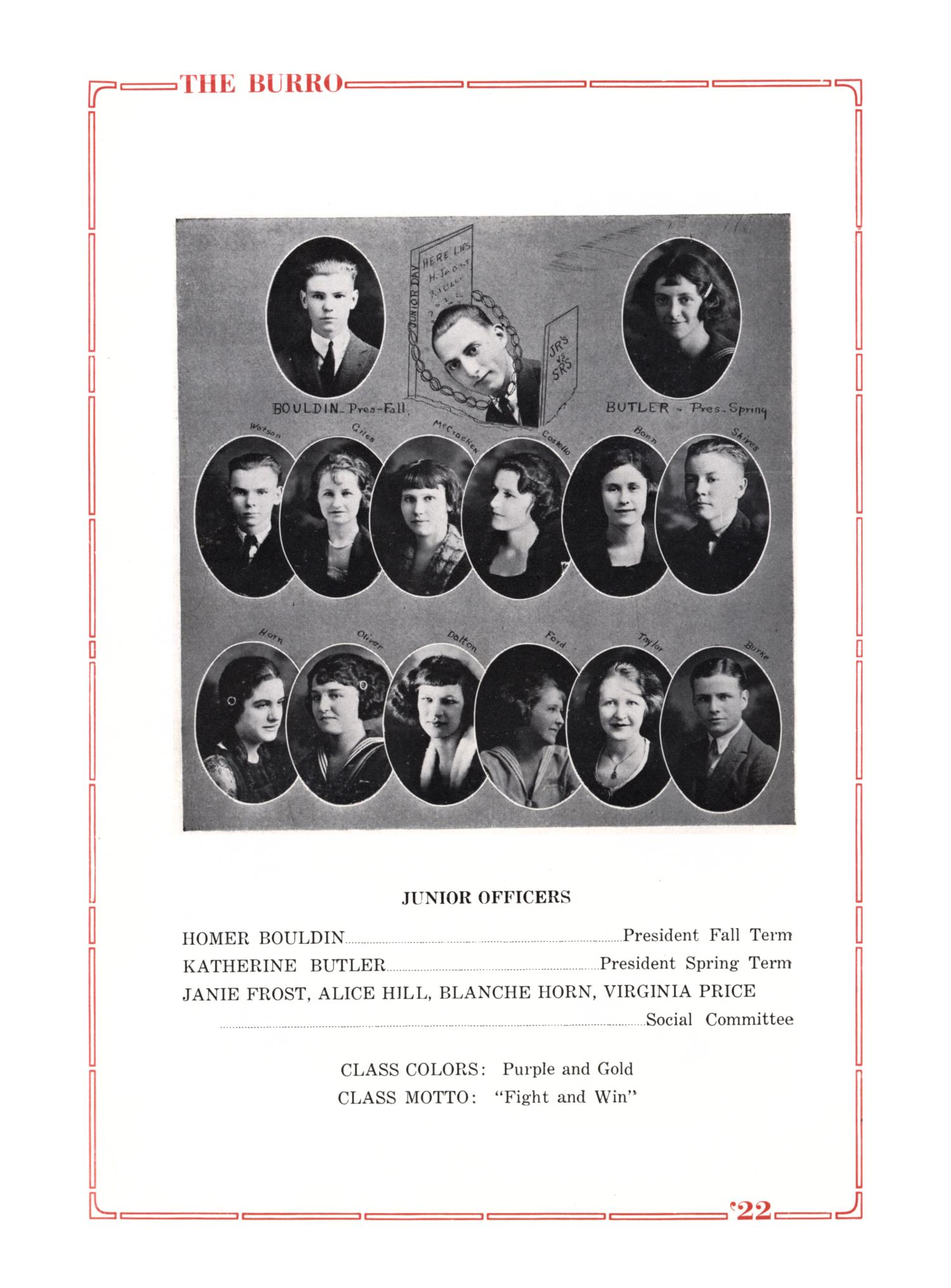 The Burro, Yearbook of Mineral Wells High School, 1922                                                                                                      22