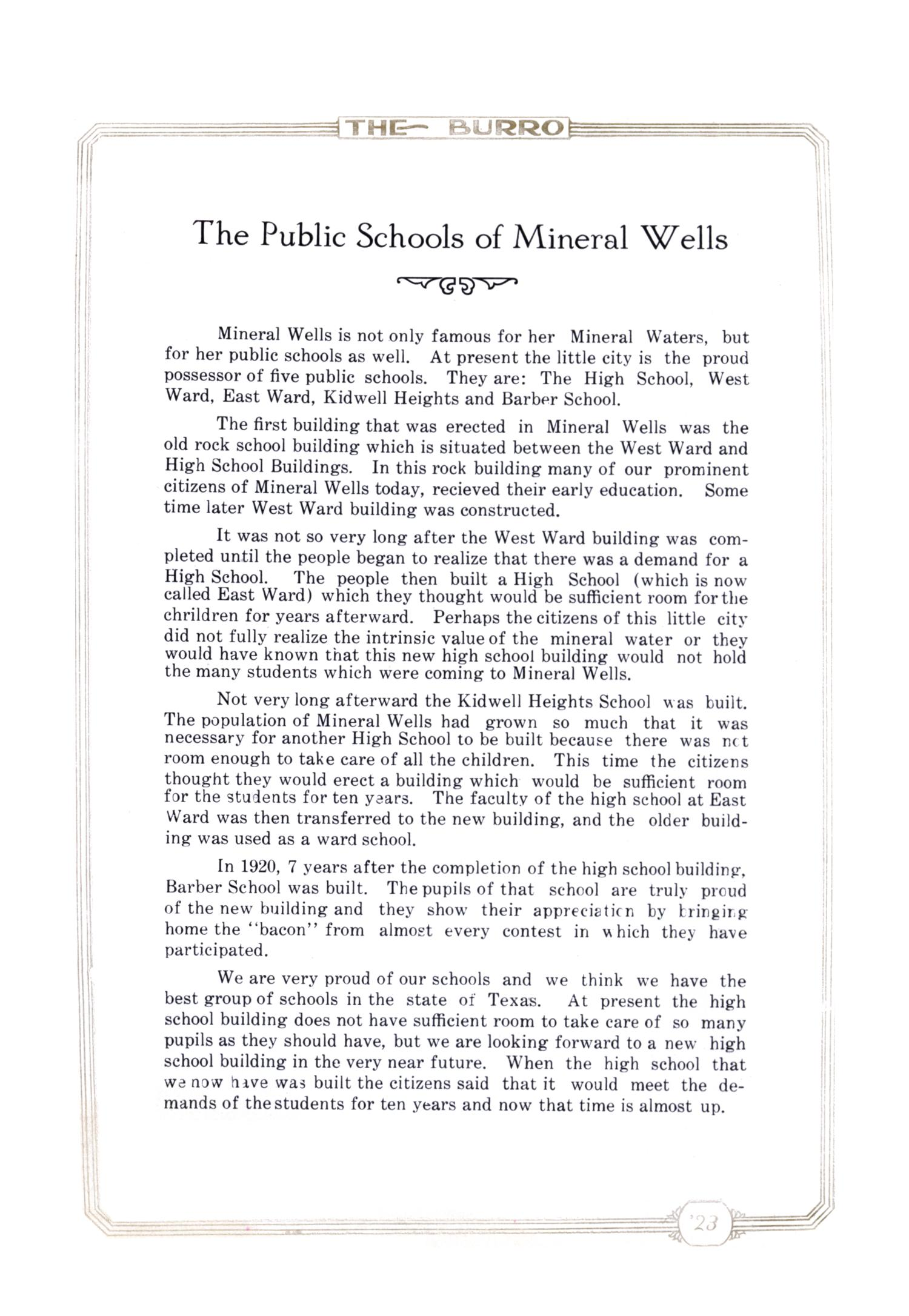 The Burro, Yearbook of Mineral Wells High School, 1923                                                                                                      9