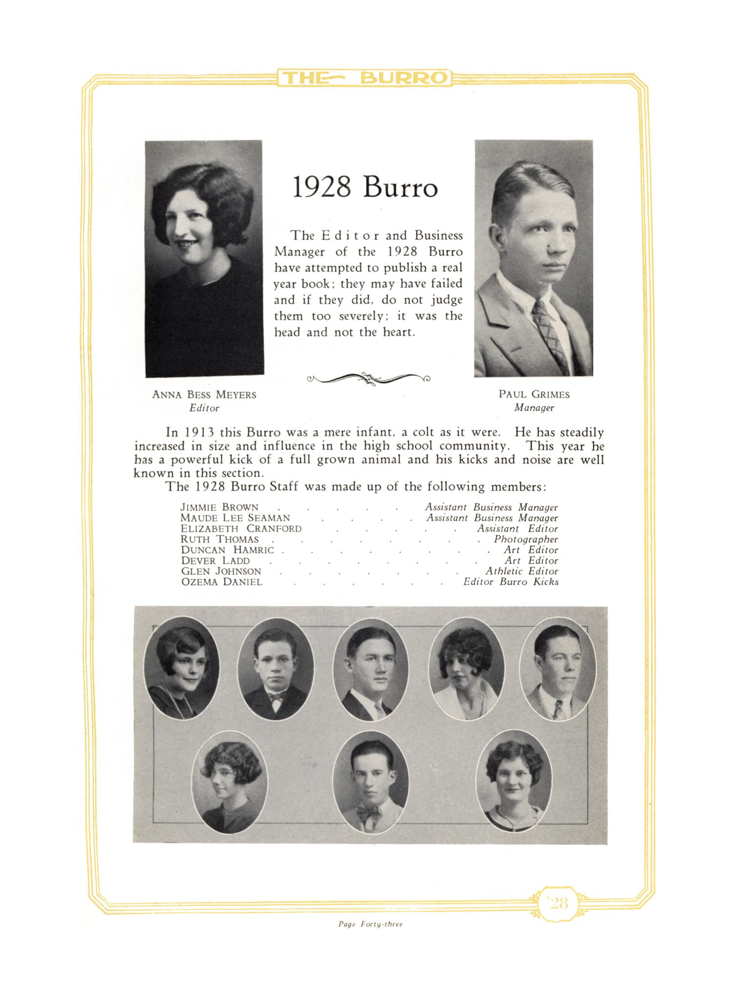 The Burro, Yearbook of Mineral Wells High School, 1928                                                                                                      43