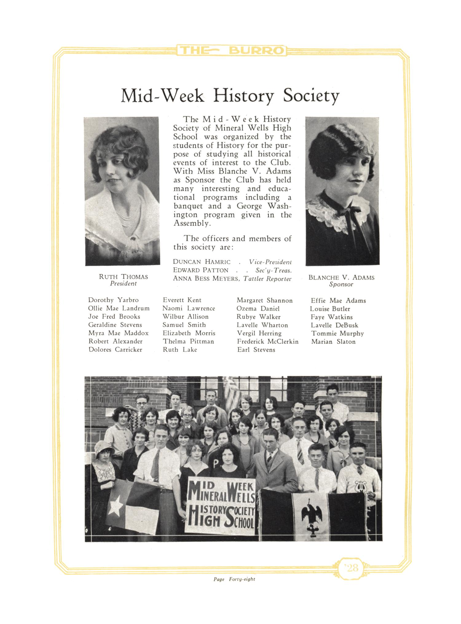 The Burro, Yearbook of Mineral Wells High School, 1928                                                                                                      48