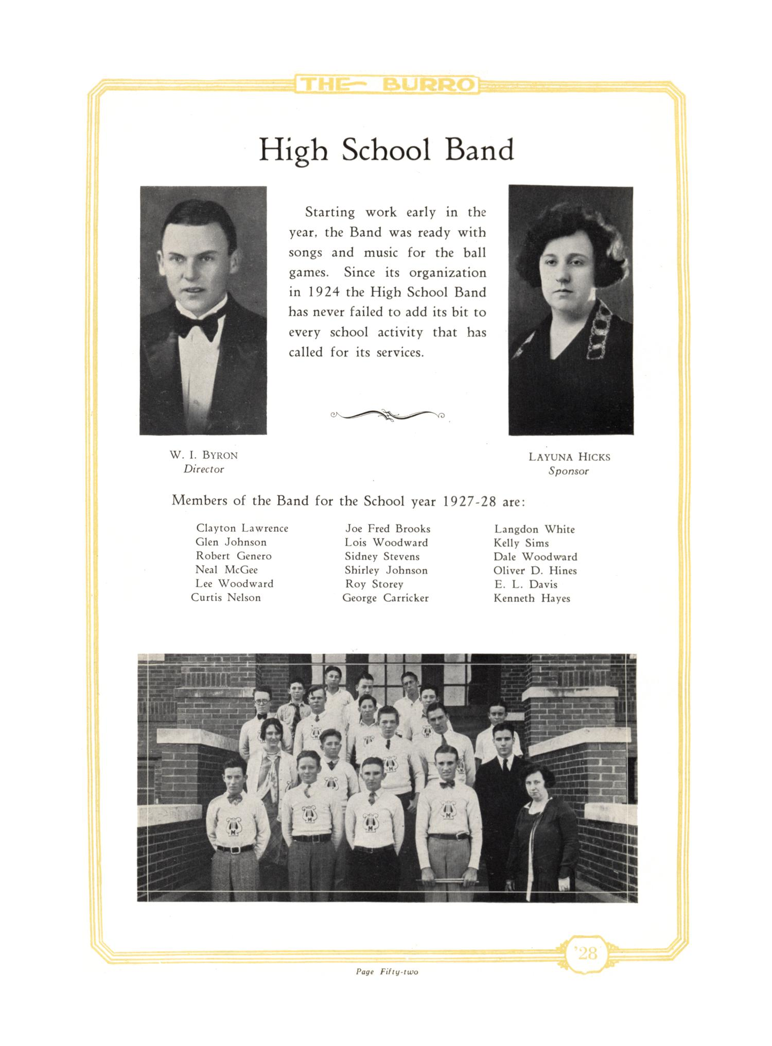 The Burro, Yearbook of Mineral Wells High School, 1928                                                                                                      52