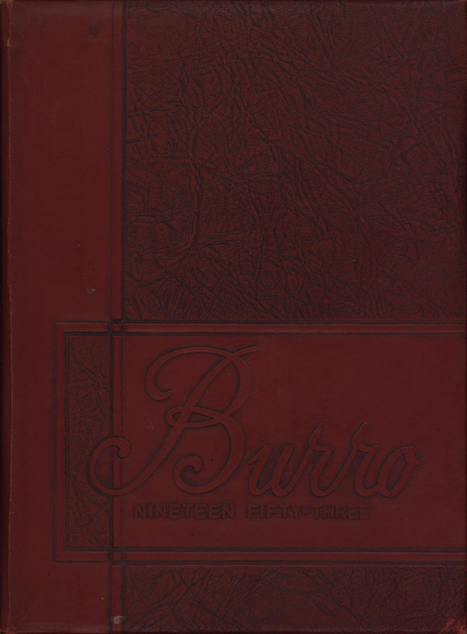 The Burro, Yearbook of Mineral Wells High School, 1953                                                                                                      Front Cover