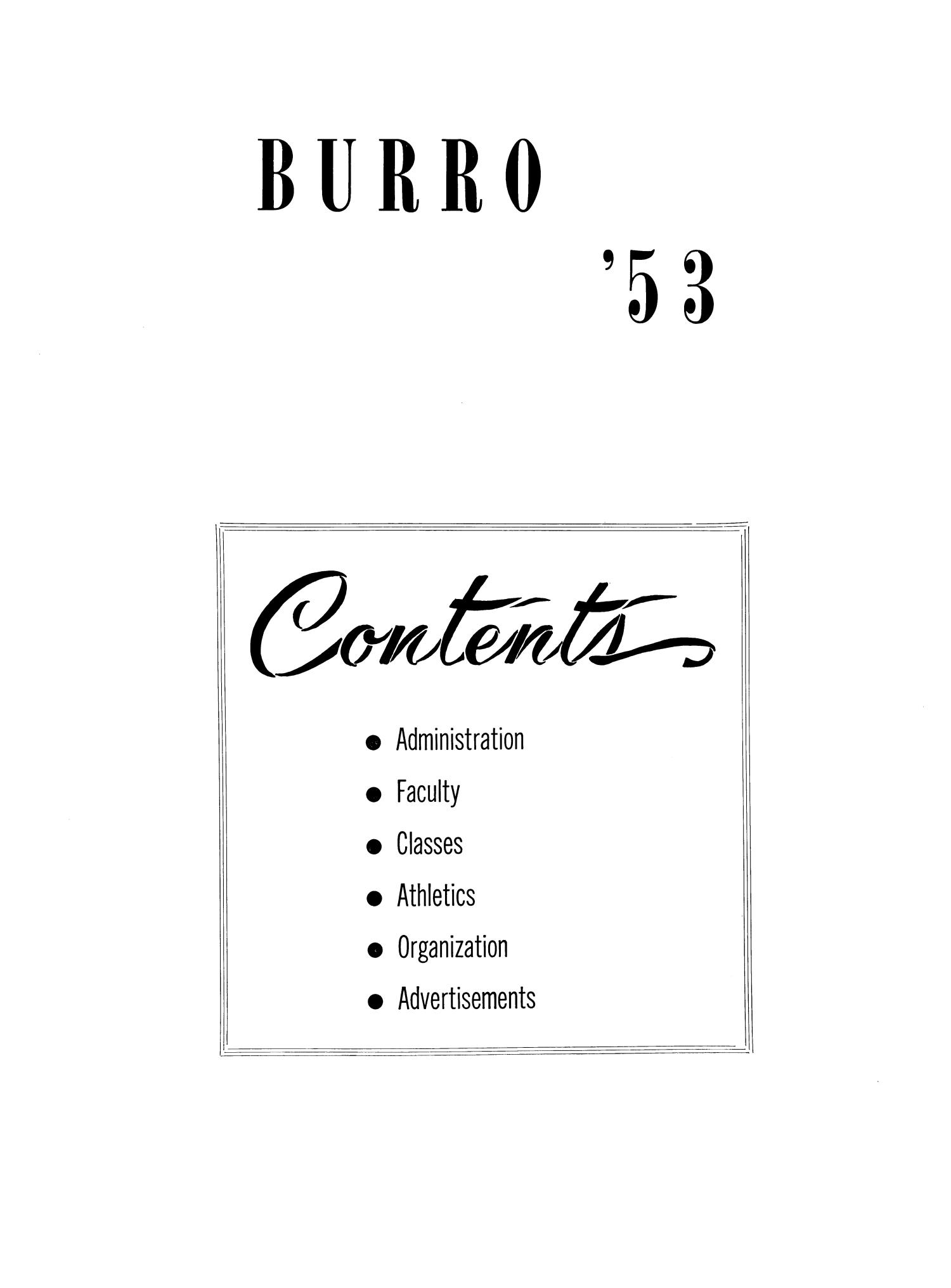 The Burro, Yearbook of Mineral Wells High School, 1953                                                                                                      2