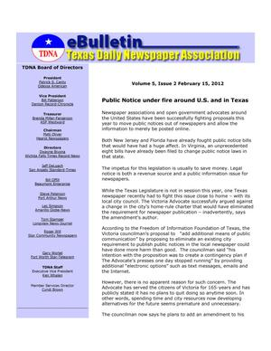 Primary view of object titled 'eBulletin, Vol. 5, No. 2, Ed. 1 Wednesday, February 15, 2012'.