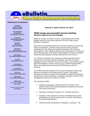 Primary view of object titled 'eBulletin, Vol. 5, No. 3, Ed. 1 Thursday, March 15, 2012'.