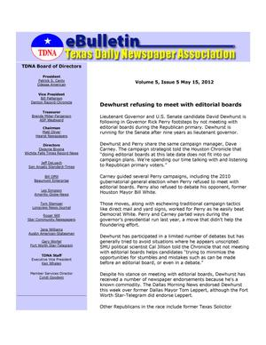 Primary view of object titled 'eBulletin, Vol. 5, No. 5, Ed. 1 Tuesday, May 15, 2012'.