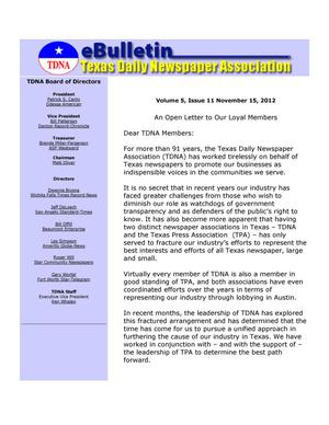 Primary view of object titled 'eBulletin, Vol. 5, No. 11, Ed. 1 Thursday, November 15, 2012'.