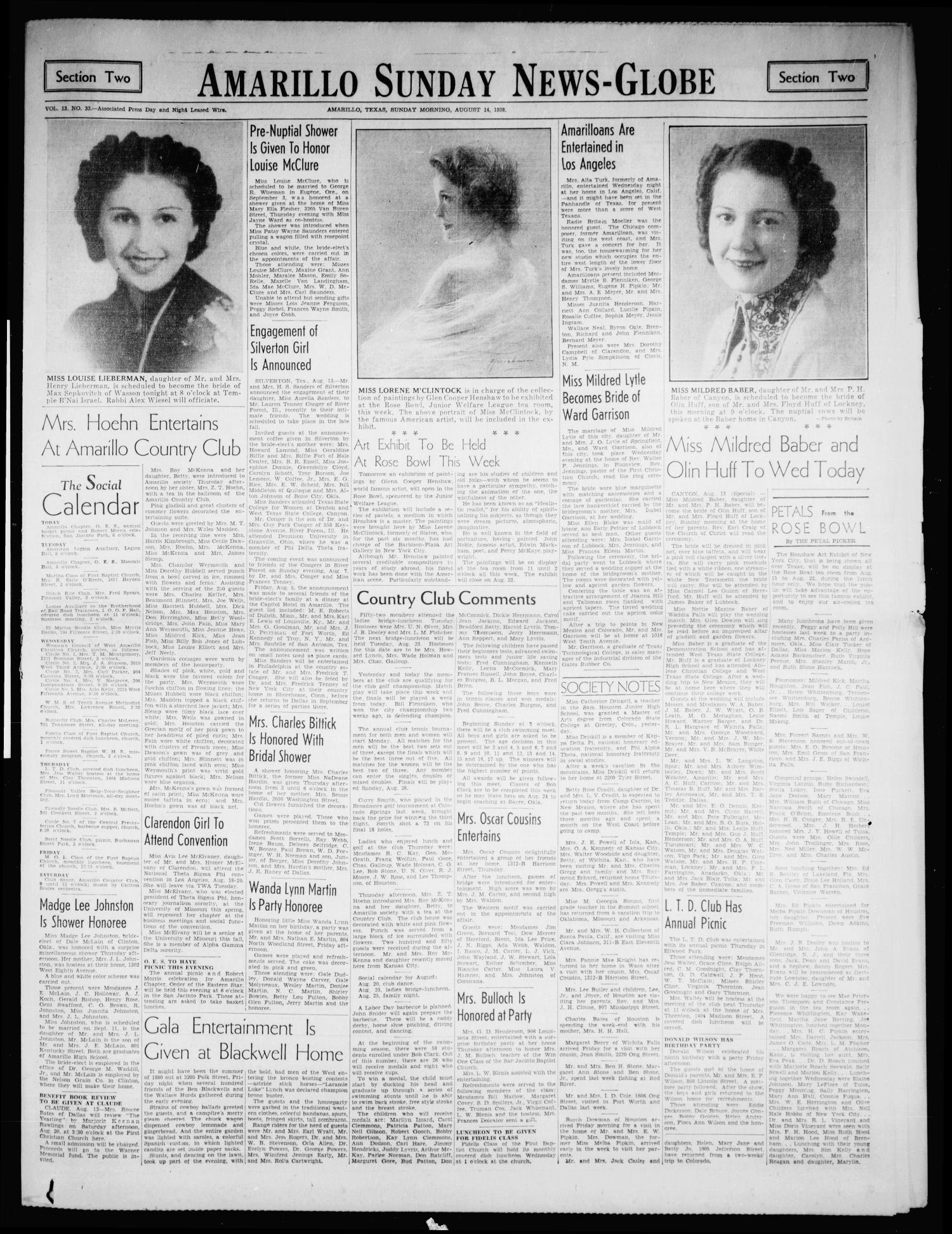 Amarillo Sunday News-Globe (Amarillo, Tex.), Vol. 13, No. 33, Ed. 1 Sunday, August 14, 1938                                                                                                      [Sequence #]: 1 of 264