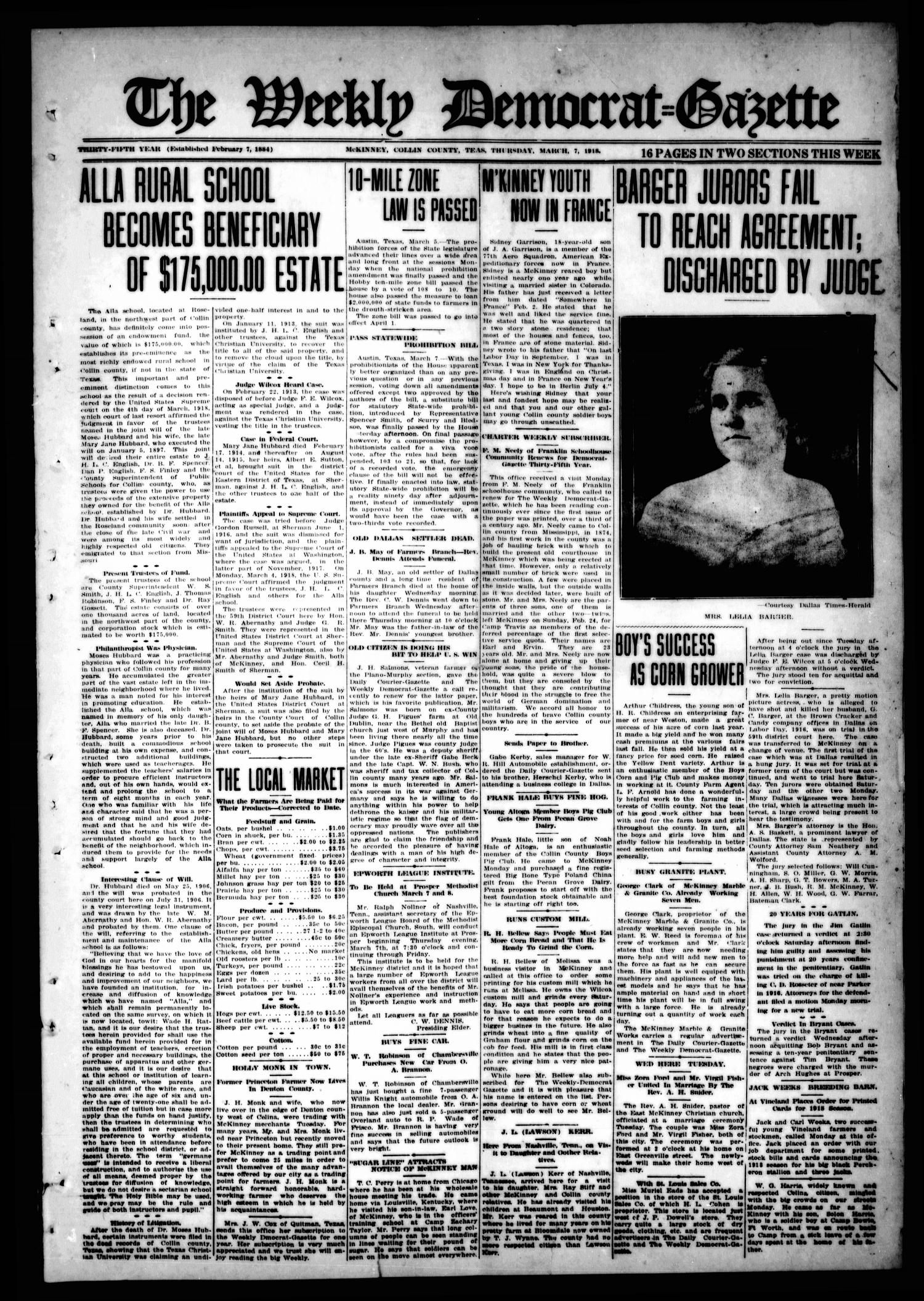 The Weekly Democrat-Gazette (McKinney, Tex.), Vol. 35, Ed. 1 Thursday, March 7, 1918                                                                                                      [Sequence #]: 1 of 16