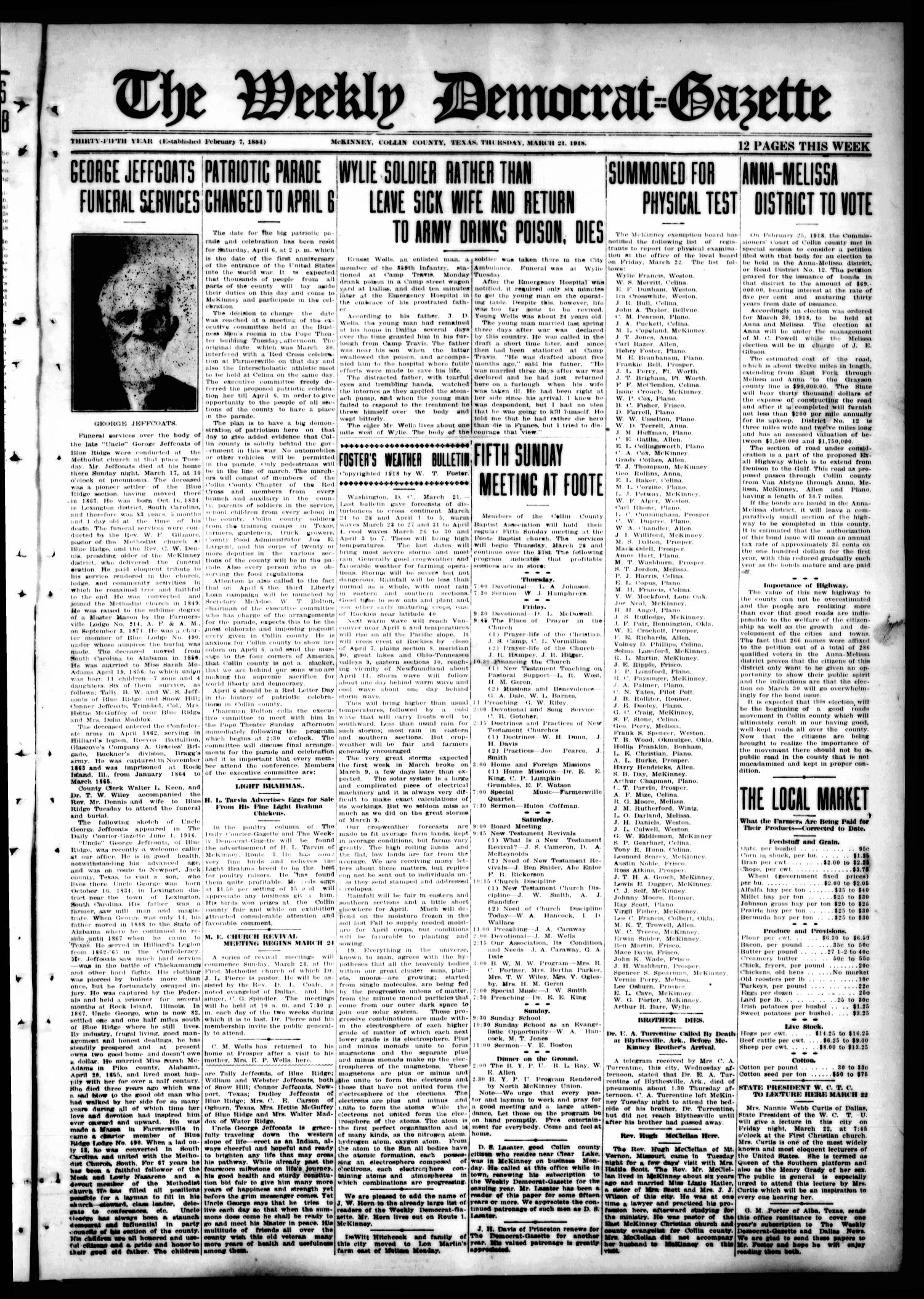 The Weekly Democrat-Gazette (McKinney, Tex.), Vol. 35, Ed. 1 Thursday, March 21, 1918                                                                                                      [Sequence #]: 1 of 12
