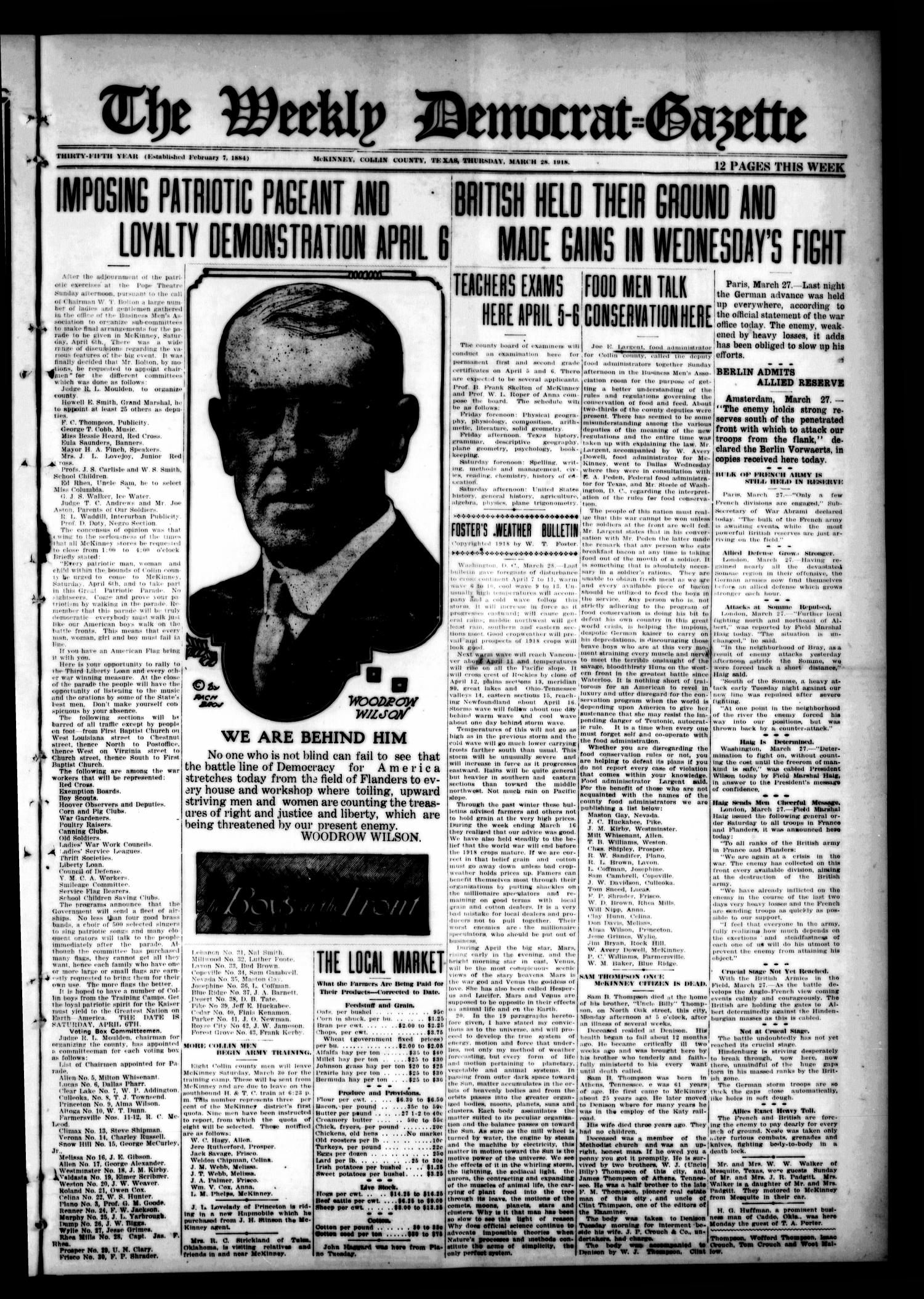 The Weekly Democrat-Gazette (McKinney, Tex.), Vol. 35, Ed. 1 Thursday, March 28, 1918                                                                                                      [Sequence #]: 1 of 12